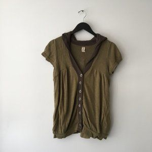 Free People Hooded Button Down Cardigan M Brown